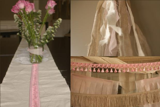 fringe baby shower ideas, burlap and pink baby shower decoration ideas
