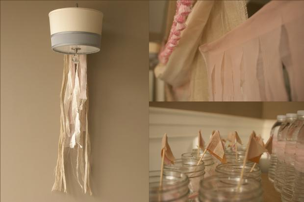 fringe baby shower ideas, burlap and pink baby shower decoration