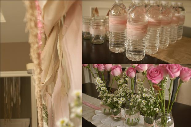 fringe baby shower ideas, burlap and pink baby shower decorations, water bottle