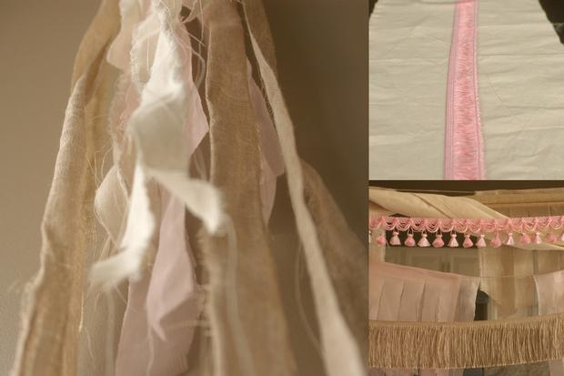 fringe baby shower ideas, burlap and pink baby shower decorations