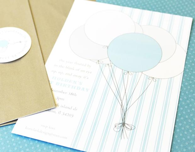 White and Blue Balloon Invitation