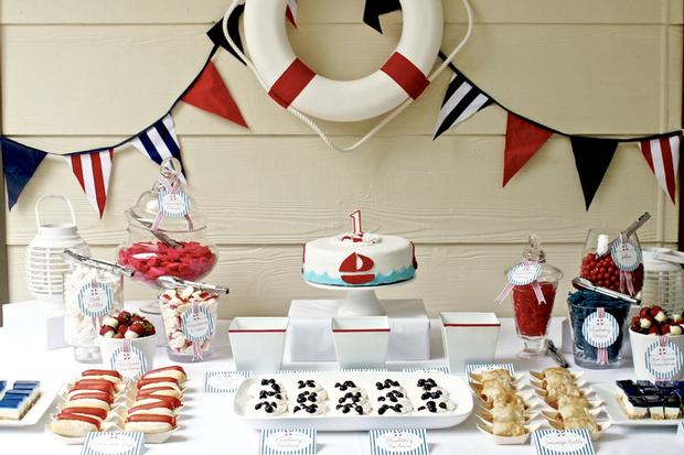 Red and Blue Nautical Party life preserver Backdrop