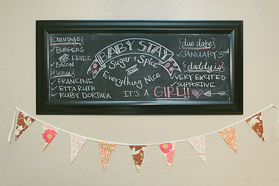 pink and gold baby shower chalkboard