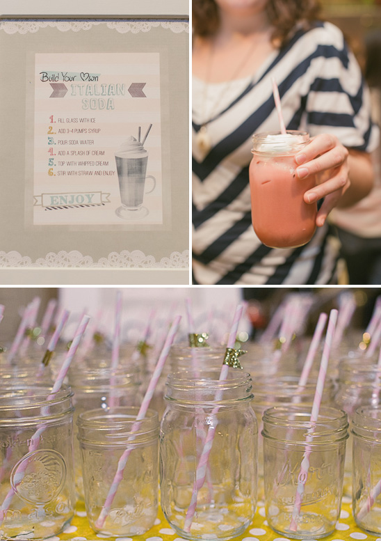 pink and gold baby shower drinks