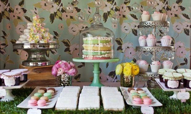 sprinkle baby shower dessert table