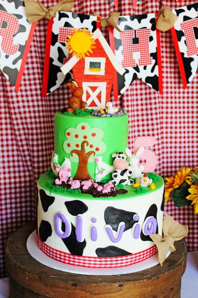 red barn door as cake topper