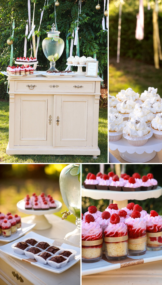 beautiful outdoor baby shower dessert table