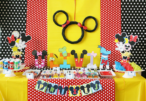 disney birthday party dessert table