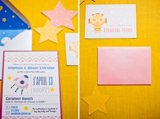 outer space baby shower invitation