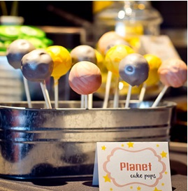 outer space baby shower, space themed cakepops