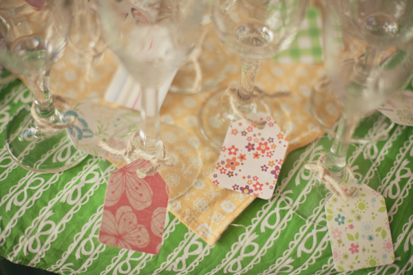 Green and Yellow Baby Shower drink tags