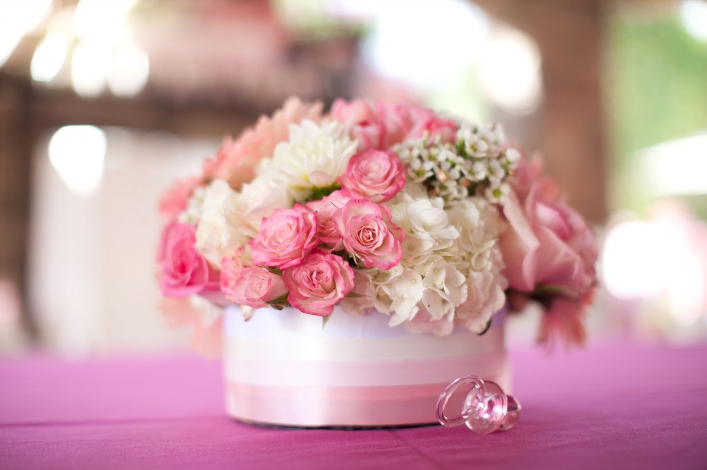 Pink Ombre Baby Shower pink florals
