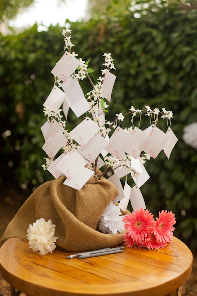 pink and floral baby shower DIY wishing tree for baby