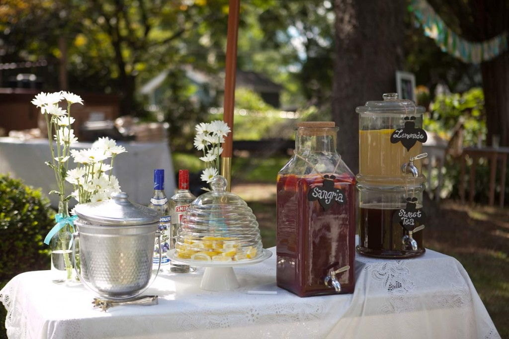 bee themed baby shower drink station