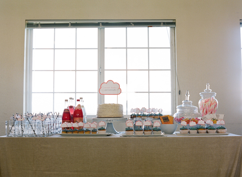 cloud themed baby shower dessert table