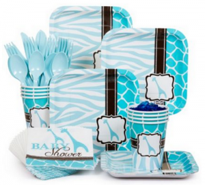 blue giraffe baby shower tablewares