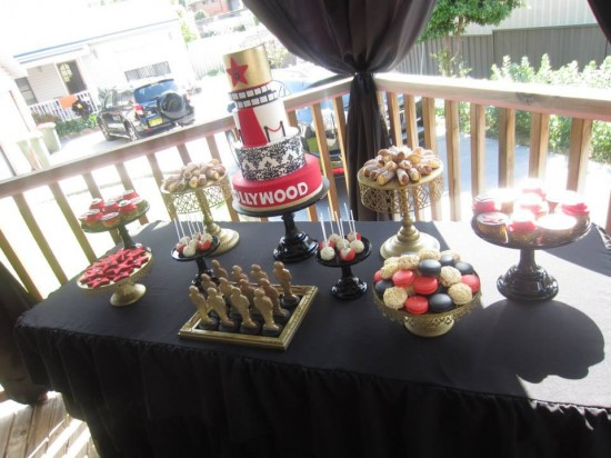 A Star is born Hollywood Baby Shower Ideas dessert table