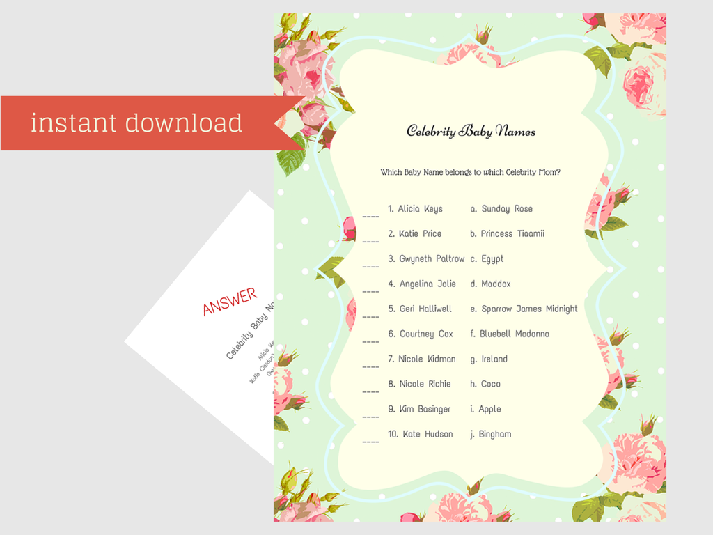 free shabby chic baby shower game