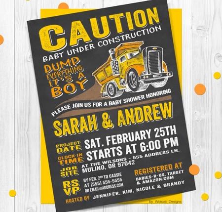 Baby Under Construction invitation