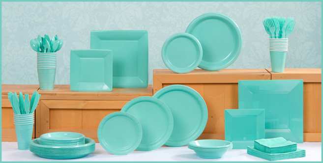 tiffany themed baby shower table ware