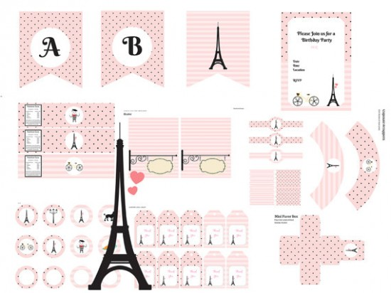 French Parisian Baby Shower printable