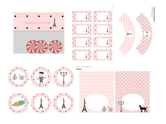 French Parisian Baby Shower printables