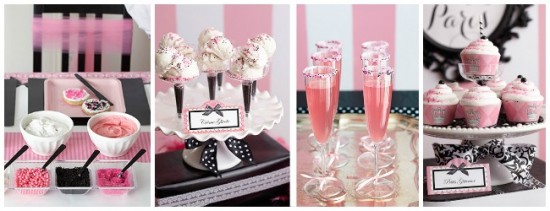 parisian baby shower drinks and sweets