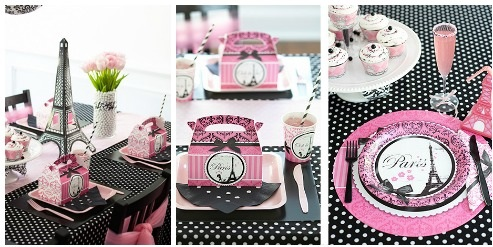 Parisian baby shower tableware