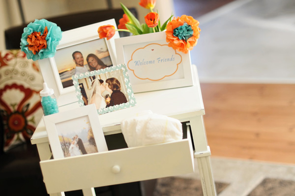 Orange and Aqua Baby Shower (4)
