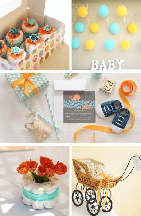 Orange and Aqua Baby Shower tablescape