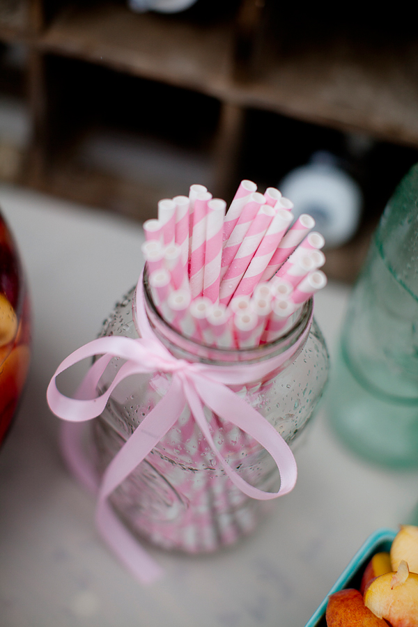 pink stripes straw in baby pink ribbon jar