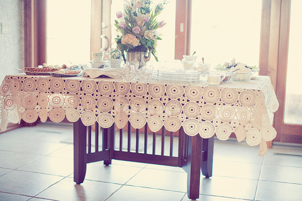 Vintage lace table cover for food table