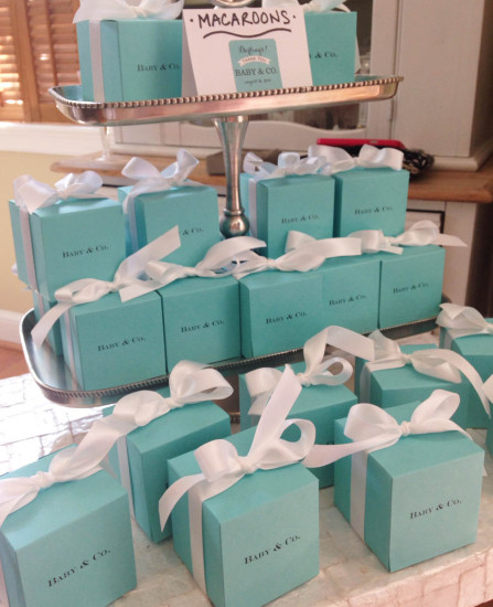 Tiffany blue favor boxes with white satin ribbon