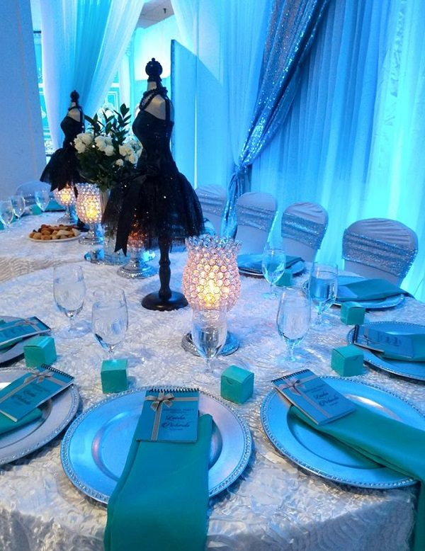 Tiffany pearl white table cover