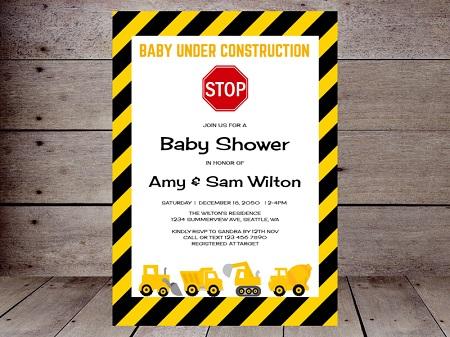 editable baby in construction invitation