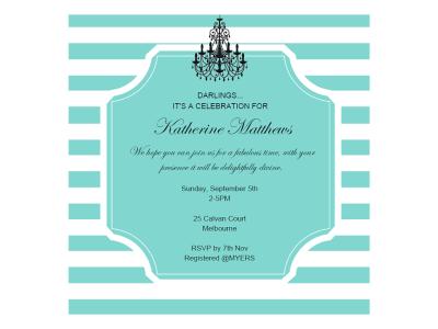 editable tiffany baby shower, bridal shower, birthday invitation, breakfast at tiffanys, chandelier