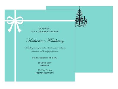 editable tiffany baby shower, bridal shower, birthday invitation, breakfast at tiffanys ribbon