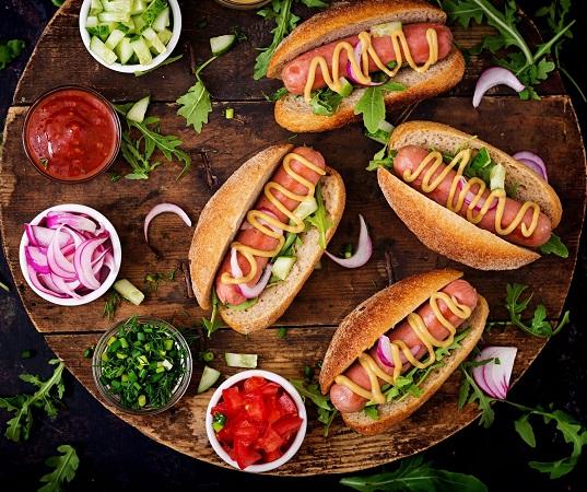 gourmet hot dogs serving