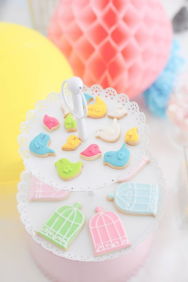 Bird Baby Shower ideas cookies on tiered tray