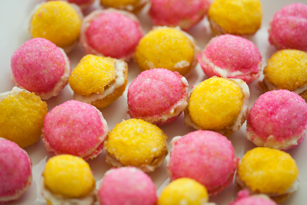 pink and yellow treats