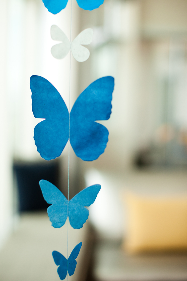 blue and white butterflies hanging
