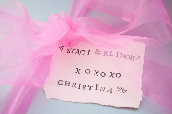 pretty pink ribbon with favor tag