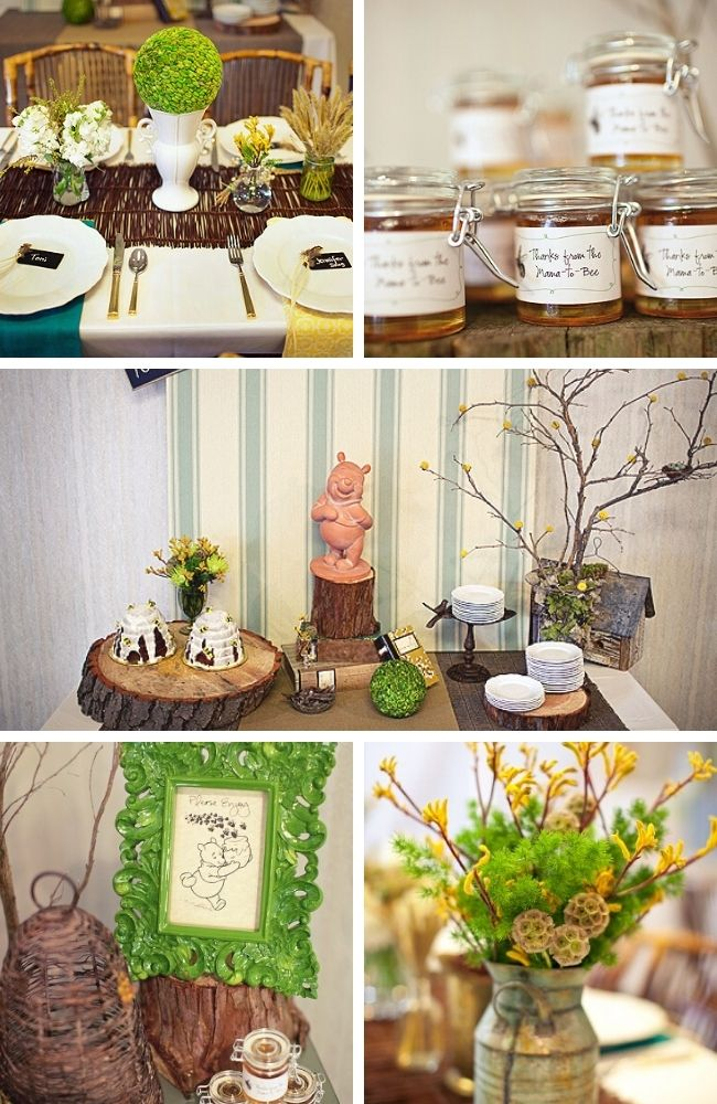 Classic Winnie the Pooh Baby Shower Tablescape