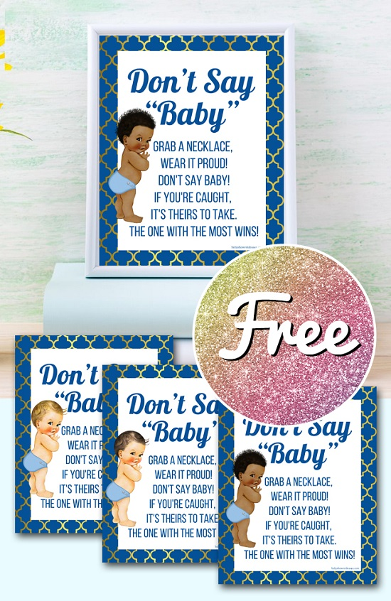 Free Boy baby shower dont say baby game template