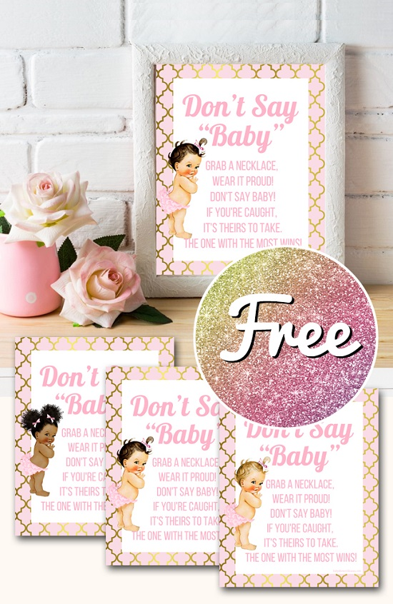 Free Princess baby shower dont say baby game template