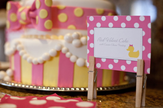 Pink Rubber Ducky Baby Shower red velvet cake