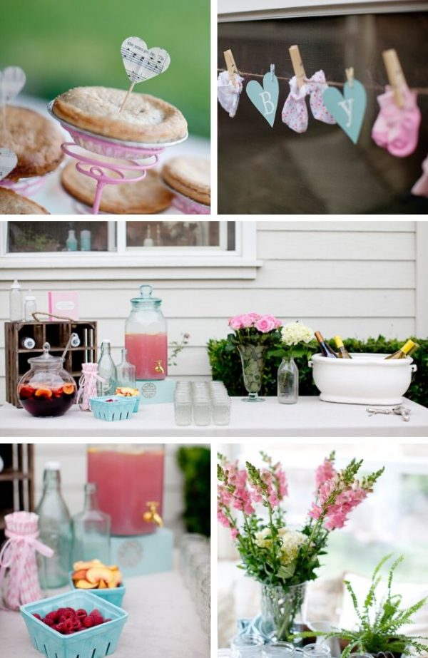 Pretty Backyard Baby Shower tablescape