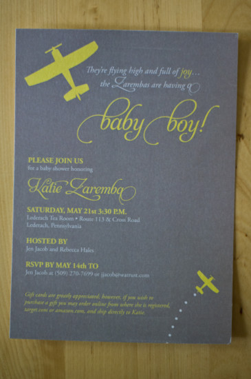 Yellow Grey Airplane Baby Shower card (2)