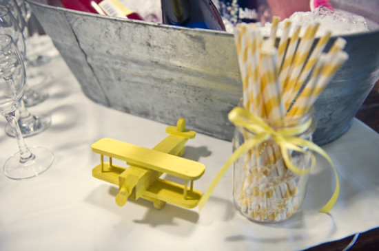 Yellow Grey Airplane Baby Shower decoration (2)