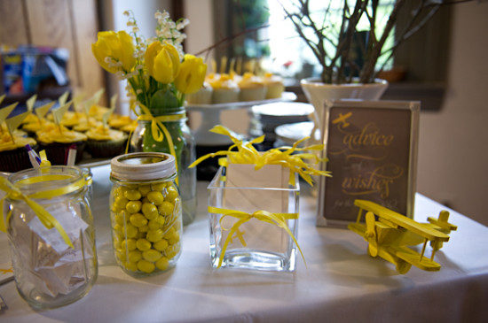 Yellow Grey Airplane Baby Shower decoration (3)